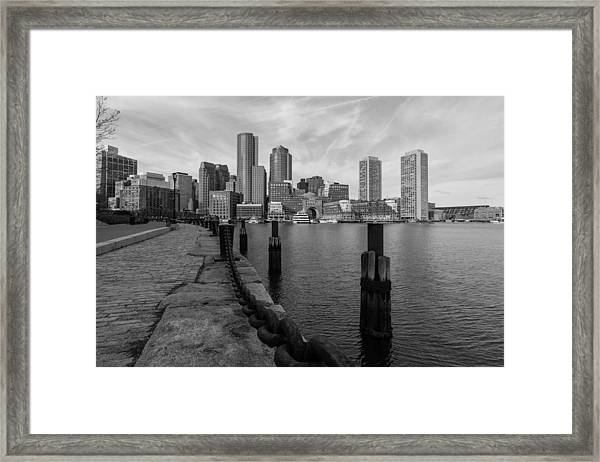 Boston Cityscape From The Seaport District In Black And White Framed Print