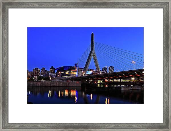 Boston Garden And Zakim Bridge Framed Print