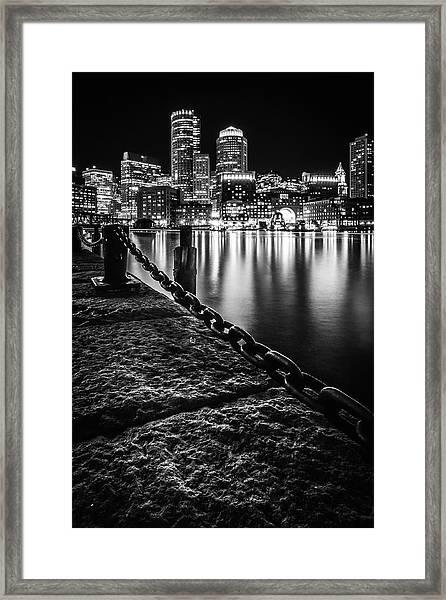 Boston Harbor At Night Framed Print