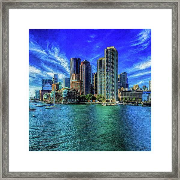 Boston Harbor Reflected Framed Print