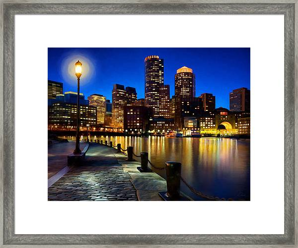 Boston Harbor Skyline Painting Of Boston Massachusetts Framed Print by James Charles