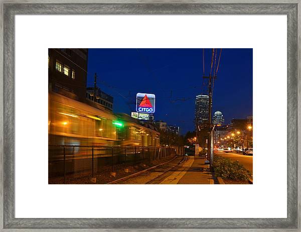 Boston Ma Green Line Train On The Move Framed Print