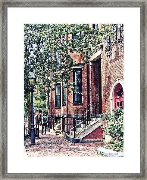 Boston Ma - Walking The Dog On Mount Vernon Street Framed Print