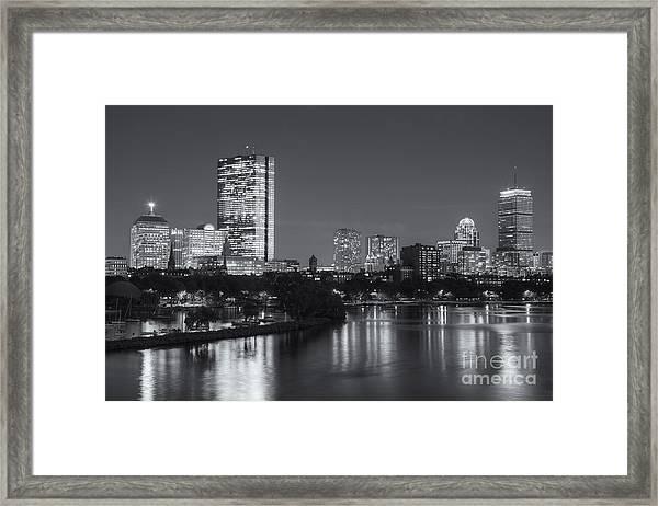 Boston Night Skyline V Framed Print