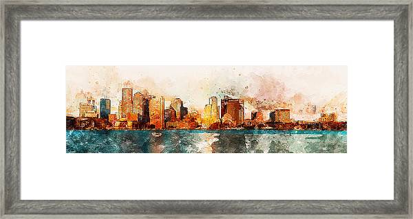 Boston, Panorama - 10 Framed Print