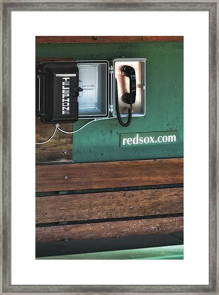 Framed Print featuring the photograph Boston Red Sox Dugout Telephone by Susan Candelario