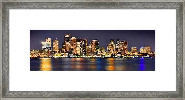 Boston Skyline At Night Panorama Framed Print