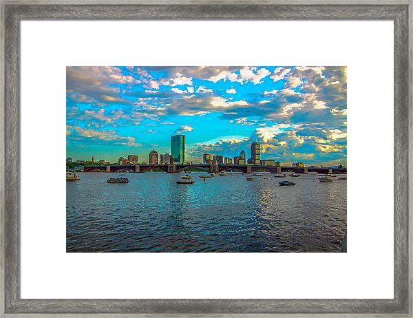Boston Skyline Painting Effect Framed Print