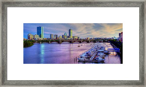 Boston Skyline Sunset Framed Print