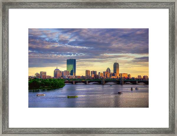 Boston Skyline Sunset Over Back Bay Framed Print