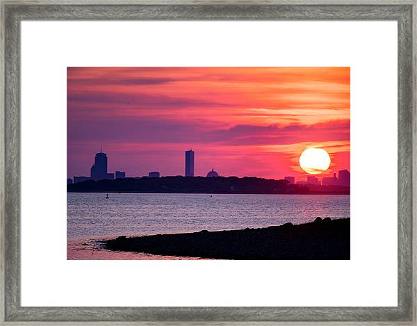 Boston Skyline Worlds End Framed Print