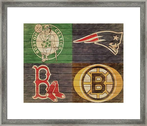 Boston Sports Teams Barn Door Framed Print