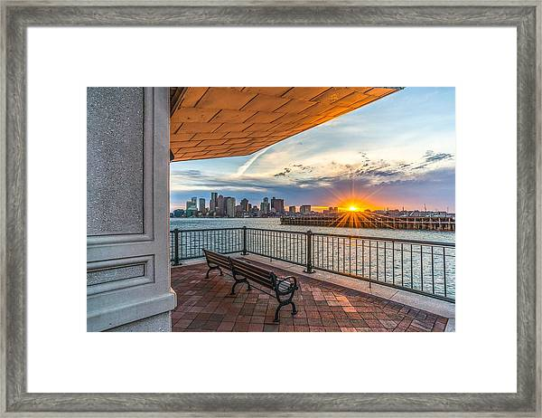 Boston Sunset From Piers Park East Boston Ma Framed Print