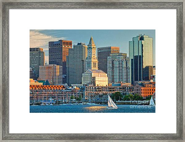 Framed Print featuring the photograph Boston Sunset Sail by Susan Cole Kelly