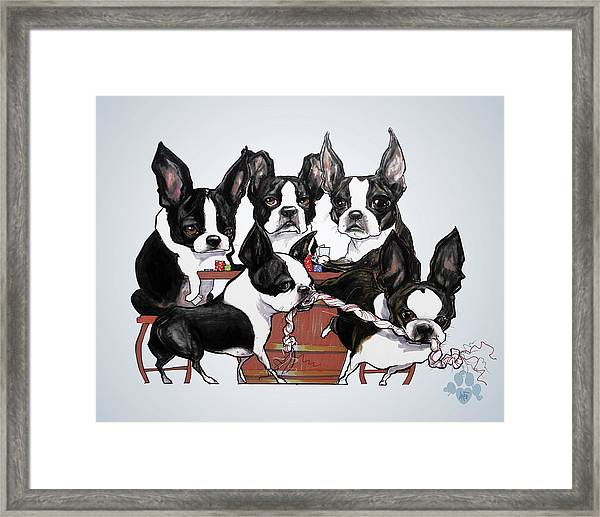 Boston Terrier - Dogs Playing Poker Framed Print