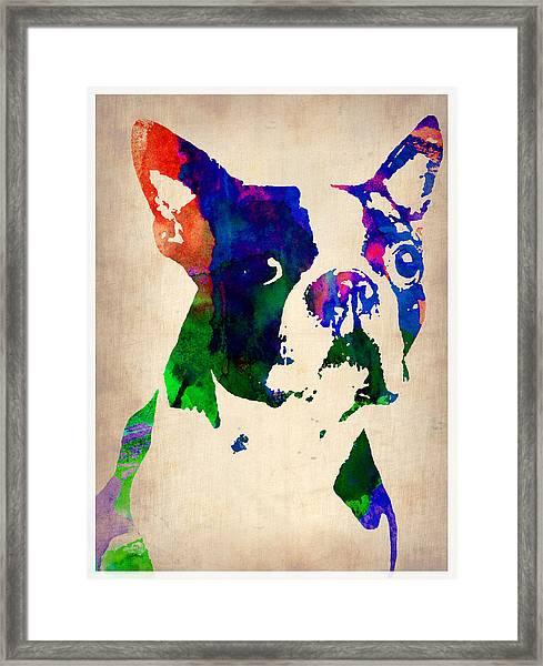 Boston Terrier Watercolor Framed Print