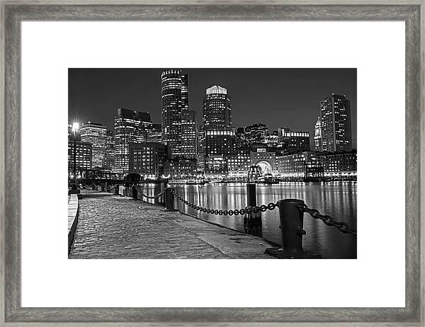 Boston Waterfront Boston Skyline Black And White Framed Print