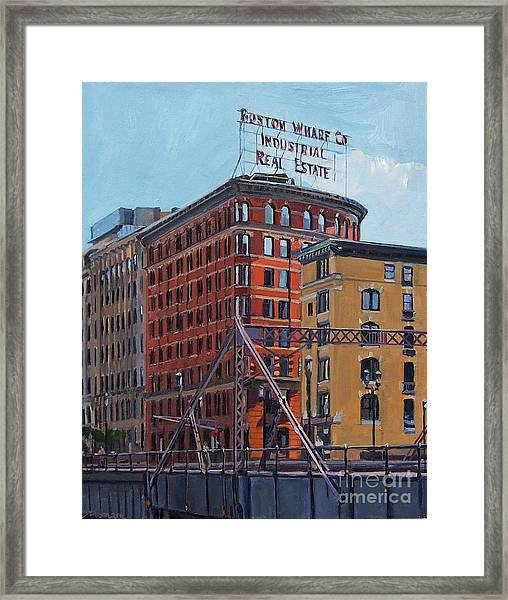 Boston Wharf Co On Summer Street Framed Print