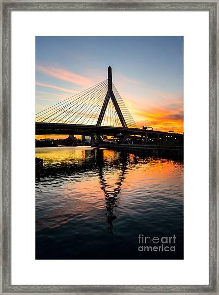 Boston Zakim Bunker Hill Bridge At Sunset Framed Print