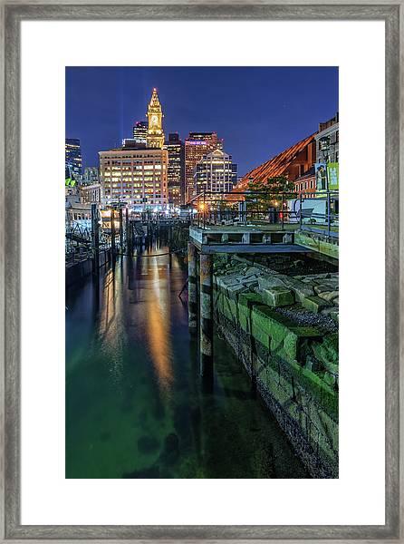 Boston's Custom House Tower From Long Wharf Framed Print