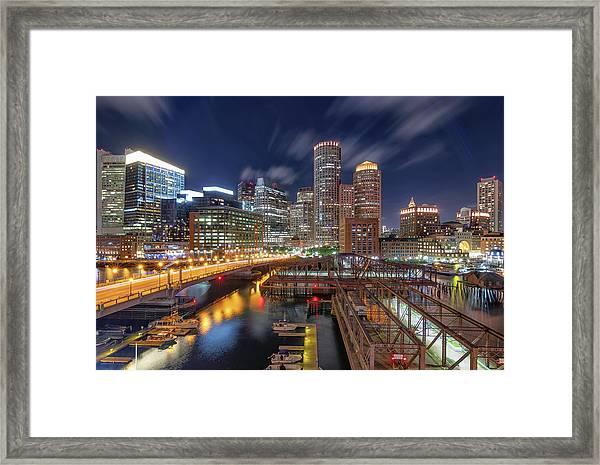 Boston's Skyline At Night Framed Print
