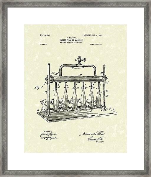 Bottle Filling Machine 1903 Patent Art Framed Print