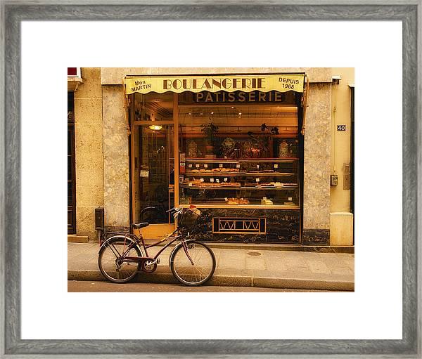 Boulangerie And Bike Framed Print
