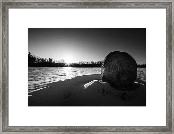 Boulder At Sunset Framed Print