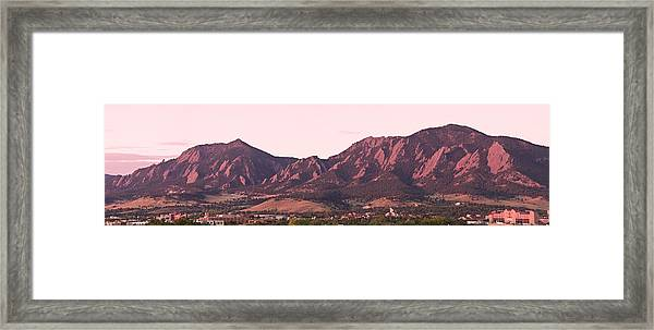 Boulder Colorado Flatirons 1st Light Panorama Framed Print