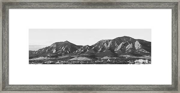 Boulder Colorado Flatirons And Cu Campus Panorama Bw Framed Print