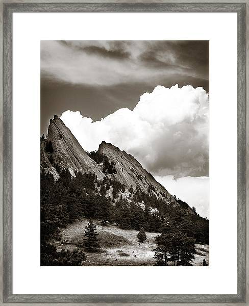Large Cloud Over Flatirons Framed Print