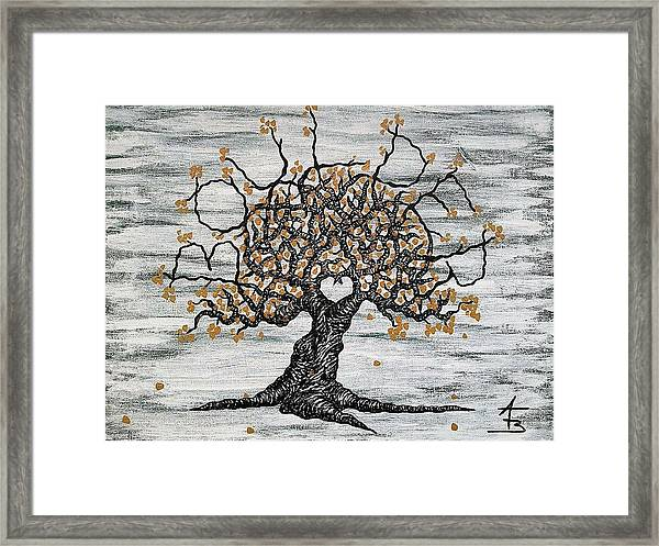 Framed Print featuring the drawing Boulder Love Tree by Aaron Bombalicki