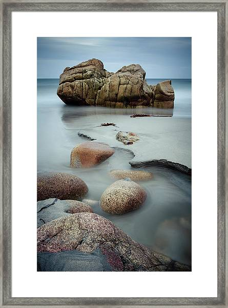 Boulders At The Beach Framed Print