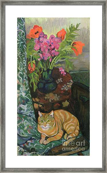 Bouquet And A Cat Framed Print
