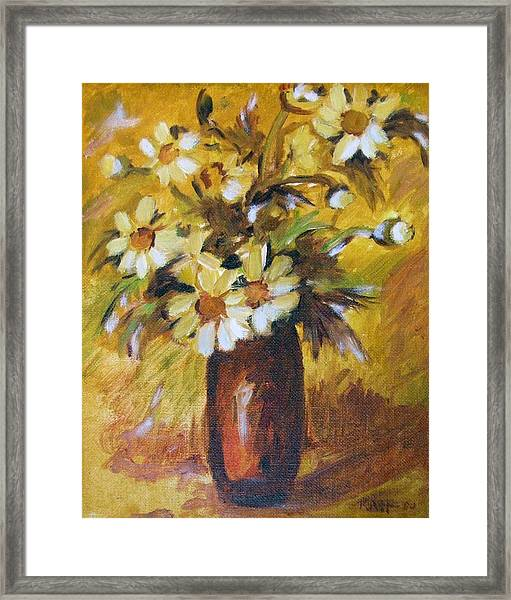 Bouquet Flowers Of Gold Framed Print