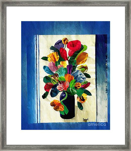 Bouquet In A Country Window Framed Print