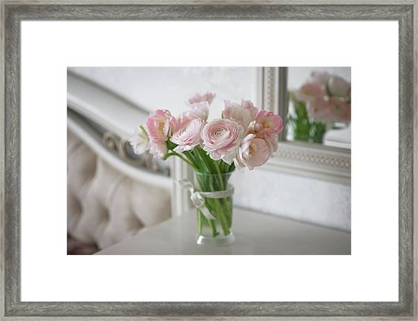 Bouquet Of Delicate Ranunculus And Tulips In Interior Framed Print