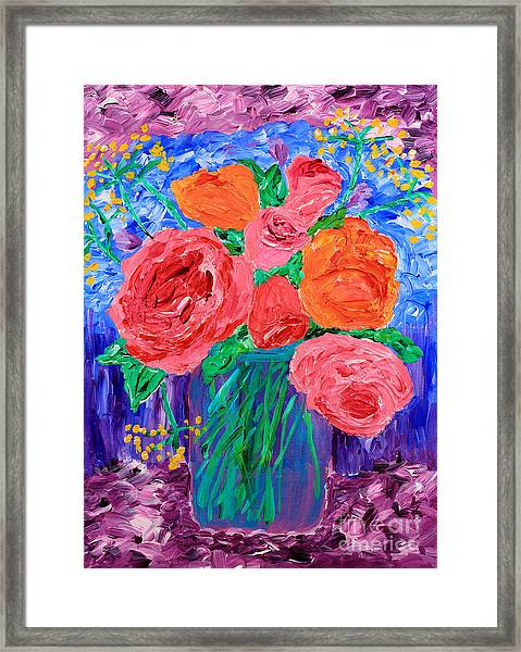 Bouquet Of English Roses In Mason Jar Painting Framed Print