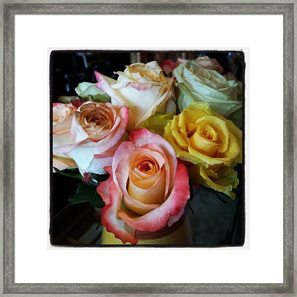 Framed Print featuring the photograph Bouquet Of Mature Roses At The Counter by Mr Photojimsf