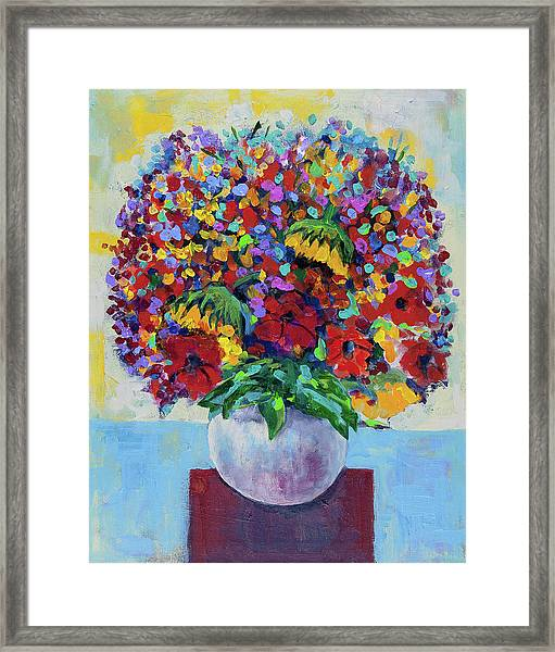 Bouquet With Two Sunflowers Framed Print