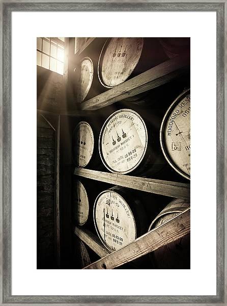 Bourbon Barrels By Window Light Framed Print