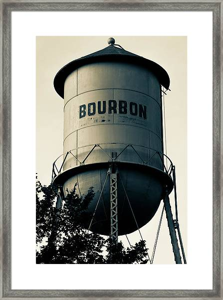 Bourbon Whiskey Vintage Water Tower - Missouri - Sepia Framed Print