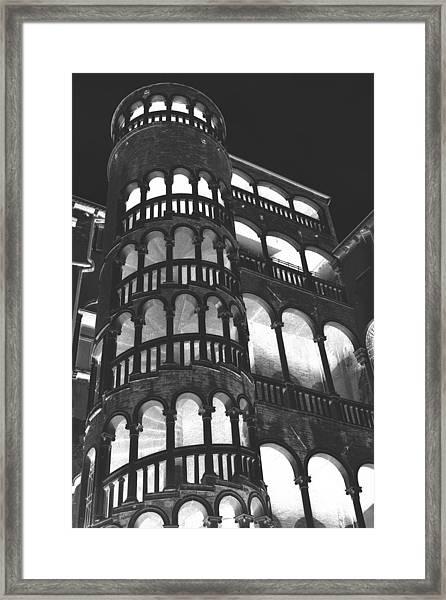 Bovolo Staircase In Venice In Negative Framed Print by Michael Henderson
