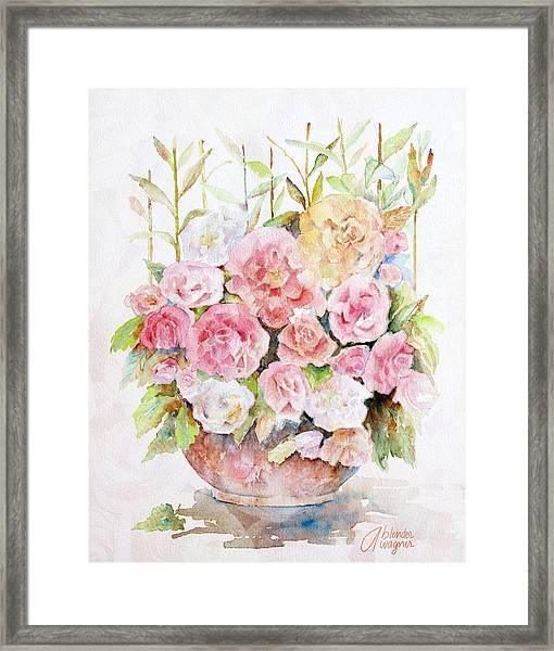 Bowl Full Of Roses Framed Print