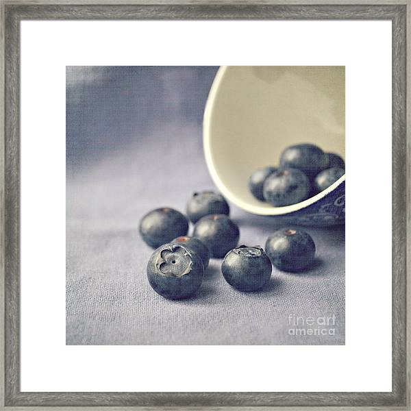 Bowl Of Blueberries Framed Print