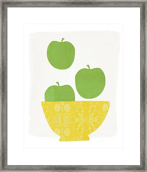 Bowl Of Green Apples- Art By Linda Woods Framed Print