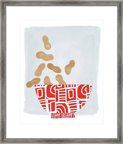 Bowl Of Peanuts- Art By Linda Woods Framed Print
