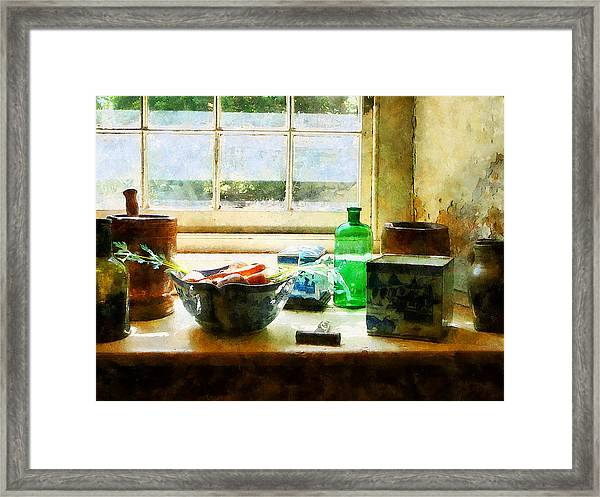 Bowl Of Vegetables And Green Bottle Framed Print