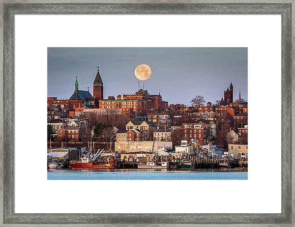 Boxing Day Moon Over Portland Maine  Framed Print