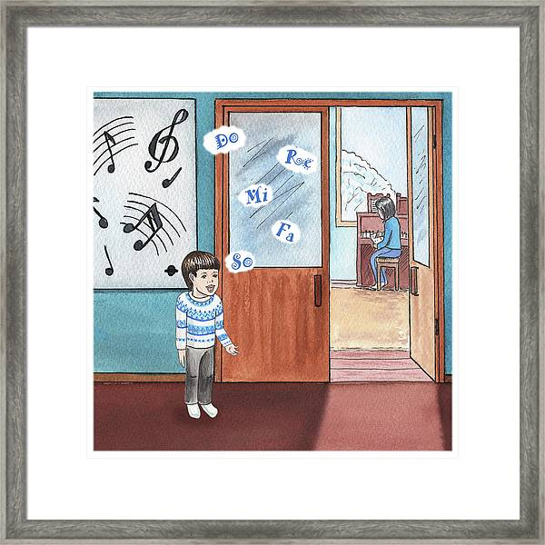 Boy Practicing Notes Framed Print